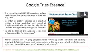 Google의 Essence 적용사례